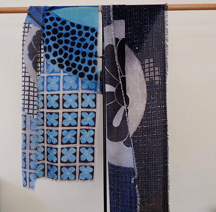 Blue Abstract 1 Wool Scarf
