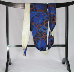 Royal blue and white reversible obi tie