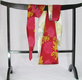 Peonies on red and white obi tie