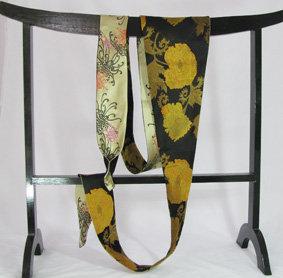 Reversible black & gold obi tie