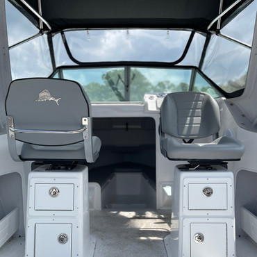 REELAX HELM SEATS WITH FIBREGLASS PEDASTOLS AND CUSTOM INBUILT TAKLES BOXES