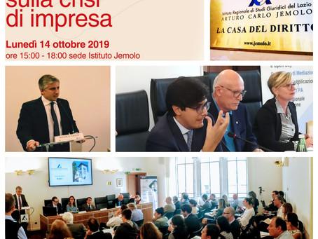 """Lunedì 14 ottobre, il convegno """"Novità e riflessioni sulla crisi di impresa"""""""