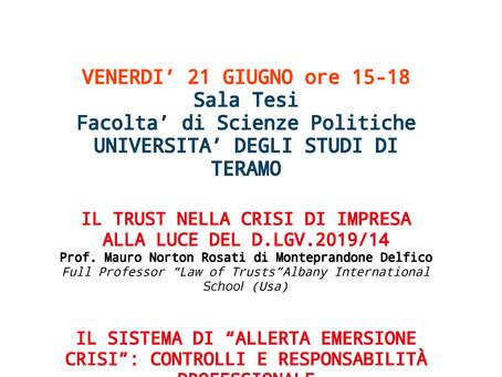 Evento presso Università di Teramo - Odcec Teramo - Fondazione DCEC di Teramo - Ordine Avvocati di T