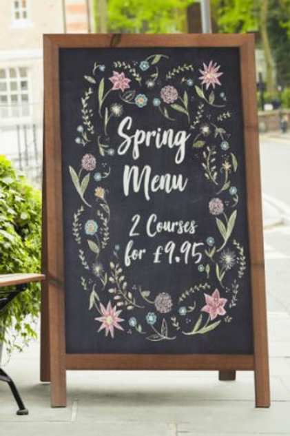 Wooden chalk board pavement sign