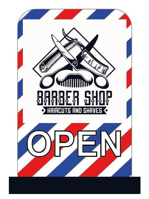 Barber pavement sign