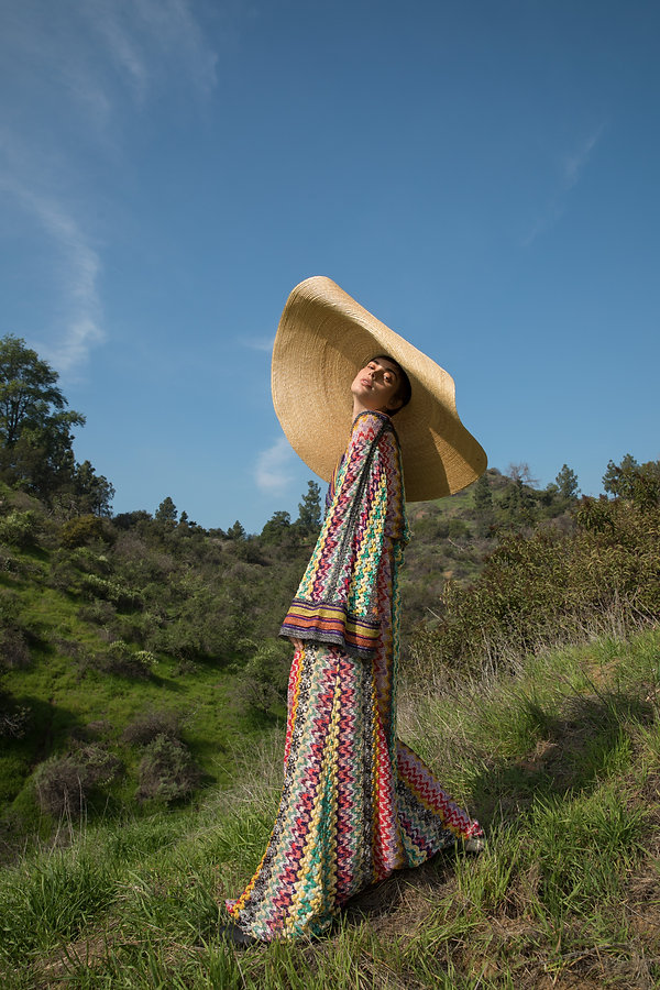 jacquemus hat, missoni gown