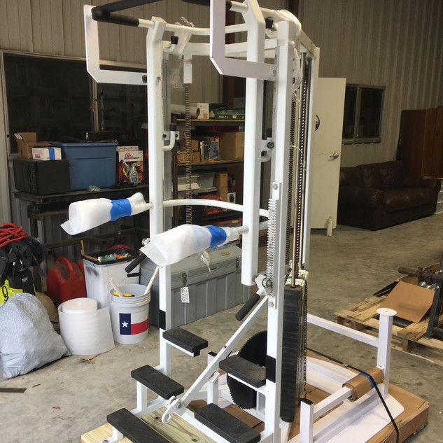 Custom pallet, lag bolted and strapped to the pallet.
