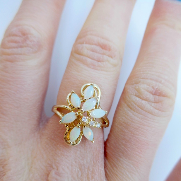 Opal and Diamond ring £105.00 SOLD