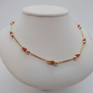 Yellow gold and Coral Necklace £95.00 SOLD