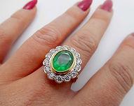 Large Emerald and Diamond Cluster Ring