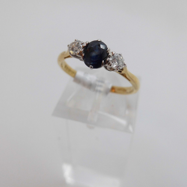 Three Stone sapphire and diamond ring £590.00