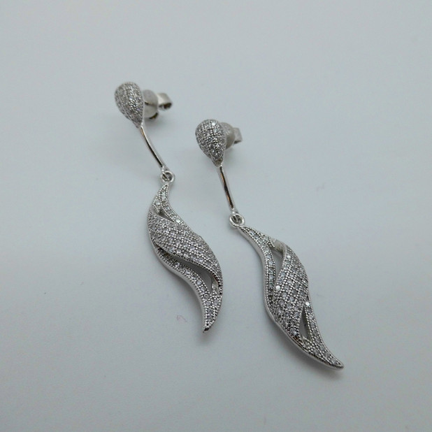 Silver and CZ drop earrings £46.95