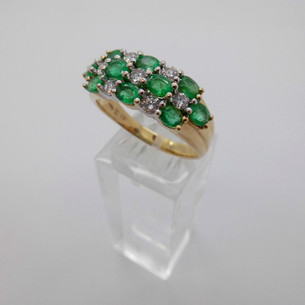 Emerald and Diamond Checkerboard Ring £1495.00