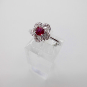 Ruby and Diamond Cluster £550.00