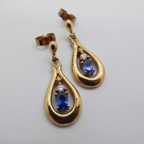 SOLD Sapphire and Diamond Drops £435.00
