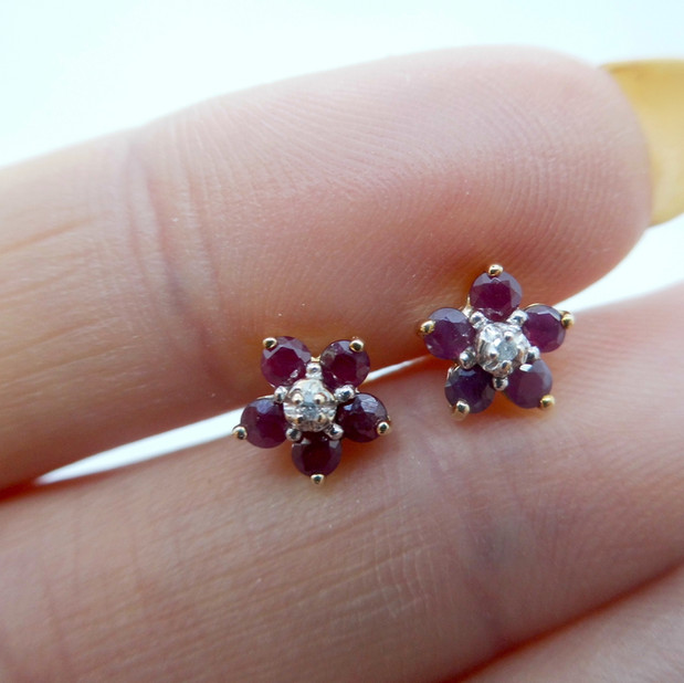 Ruby and diamond cluster earrings £79.95 SOLD