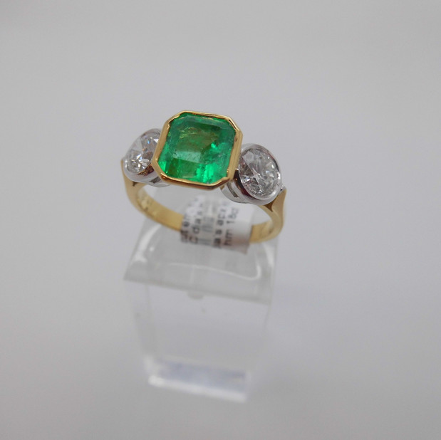 SOLD Emerald and Diamond Ring £4950.00