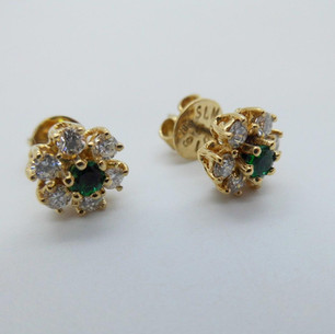 Emerald and Diamond Cluster Studs £725.00