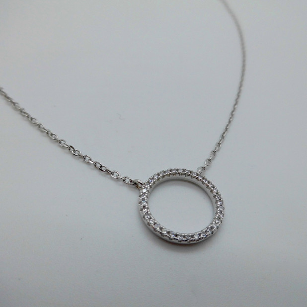 Silver and CZ Circle Necklet £32.95
