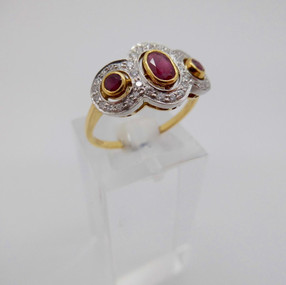 Ruby and Diamond three stone ring £895.00