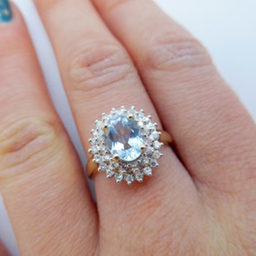 SOLD Aqua and Diamond Cluster Ring £175.00