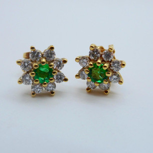 Emerald and Diamond Cluster Earrings £895.00