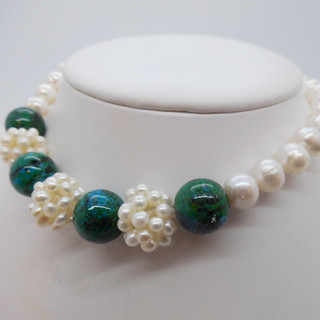Pearl and Azurite Necklet £90.00