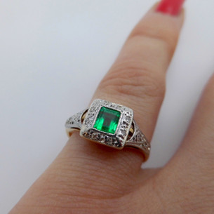 Emerald and diamond ring £225.00 SOLD