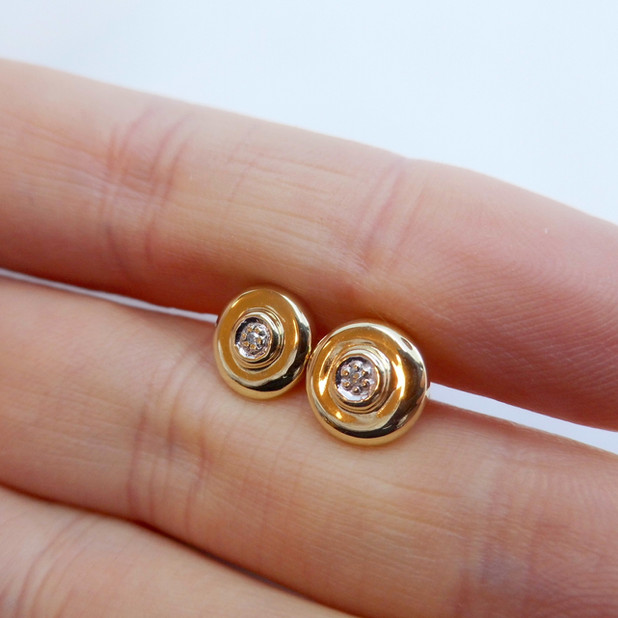 Yellow Gold and Diamond Disc Earrings £74.95 SOLD