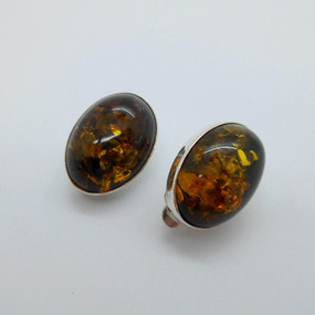 SOLD Silver and Amber clip ons £22.95