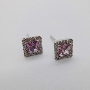 Pink Sapphire and Diamond Earrings £325.00