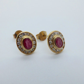 Ruby and Diamond Cluster Earrings £665.00