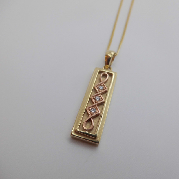 Diamond Set Gold Ingot Necklet £425.00