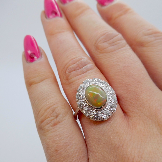 Opal and Diamond Cluster £1850.00