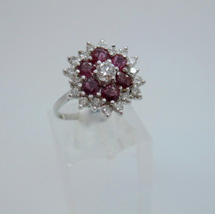 Ruby and Diamond Cluster £1595.00