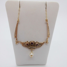 SOLD Ruby and Pearl Necklet £95.00