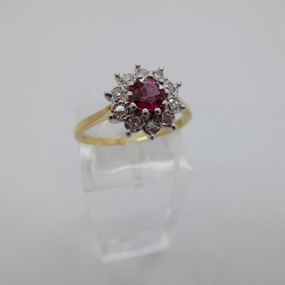 Ruby and Diamond Cluster £650.00
