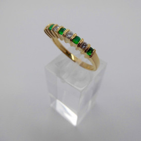 Emerald and diamond half eternity ring £650.00