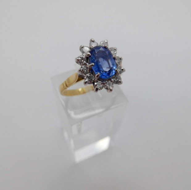 Sapphire and Diamond Cluster £1395.00 SOLD