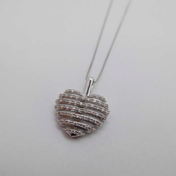 White Gold and Diamond Heart Necklet £301.95