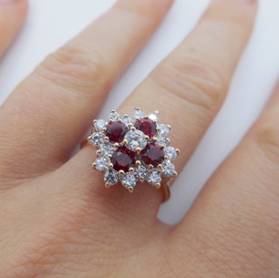 CZ and Red Stone Ring £150.00 SOLD
