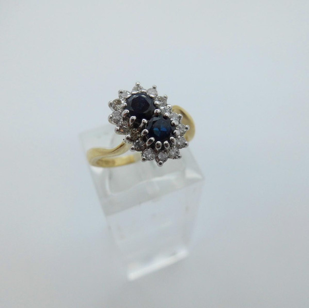 Sapphire and Diamond Double Cluster ring £525.00