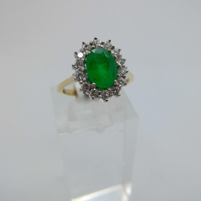 Emerald and Diamond Cluster Ring £1250.00
