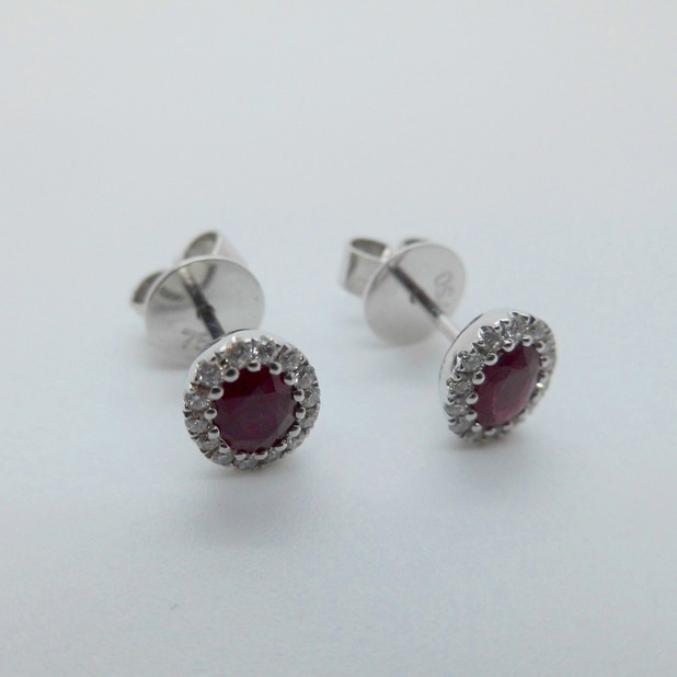 Ruby and Diamond Cluster Earrings £1425.00