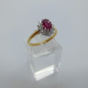 Ruby and Diamond Cluster Ring £525.00
