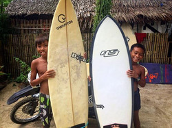 Our instructor took Beboy and Jeymar out to surf cloud 9 yesterday with the pros training for the up