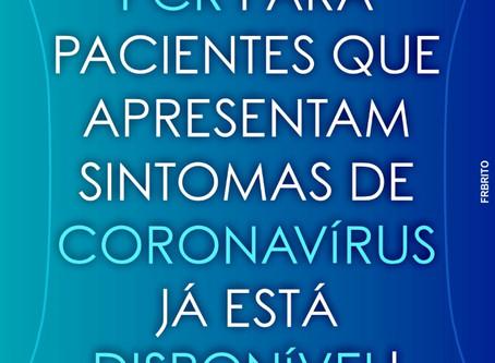 OS TESTES PCR PARA PACIENTES QUE APRESENTAM SINTOMAS DE CORONAVÍRUS JÁ ESTÁ DISPONÍVEL