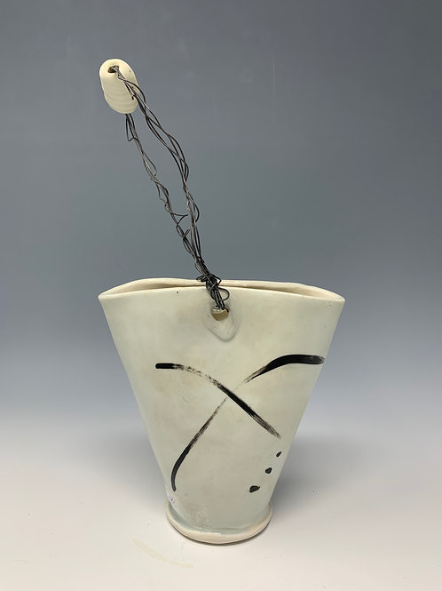 Ikebana Vase - white and black