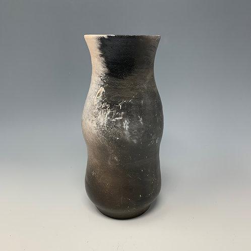 Black & white, pit-fired vase