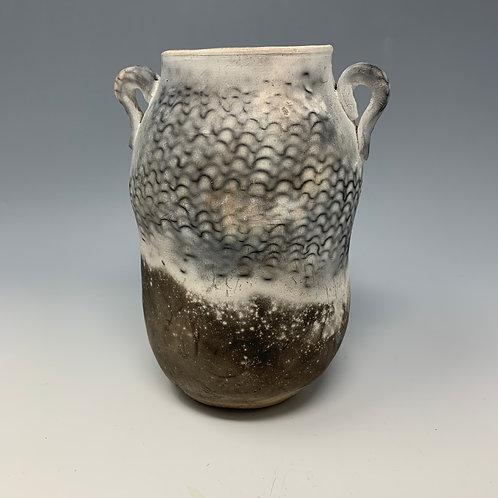 Pit fired Vase, black & white